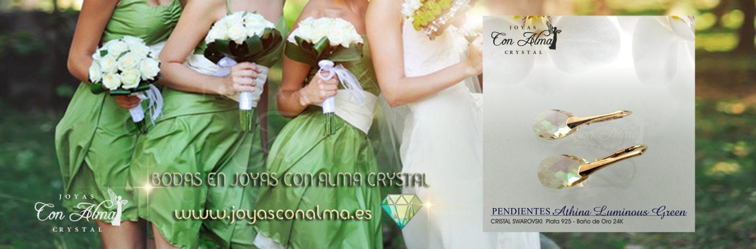 Bodas Joyas con Alma Crystal - Pendientes Athina Green